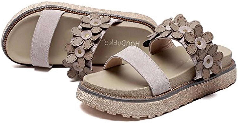 MeiMei Sandalias Dew-Fashion Femenina, Portando Flores Gruesas Bizcocho Exterior Zapatillas Inferior
