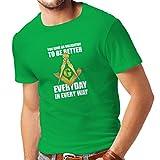 T-shirt pour hommes Freemasons slogan la symbolique maconnique signes boussole carré (X-Large Vert Multicolore)