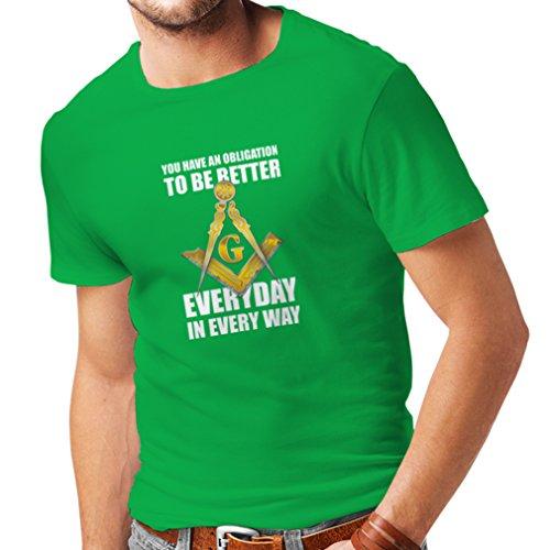 Männer T-Shirt Um jeden Tag besser zu sein Masonic G Mason Freimaurer Winkel und Zirkel (XX-Large Grün (Kind Hitler Kostüm)