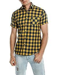 Coofandy Camisa Hombre a Cuadros Manga Corta Casual