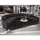 XXL Wohn-Landschaft mit Kunstleder Bezug 380x290 cm halbrund schwarz | Retosec | Designer Eck-Sofa mit gesteppter Sitzfläche Ottomane links | Couch für Wohnzimmer schwarz 380cm x 290cm