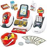 Buyger 26 Piezas Juguete de Caja Registradora Electrónica con Escáner Sonido y Luz Supermercado Juguetes Juego de Imitación para niños