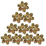 MagiDeal 10 Stück Blume Strass Nieten Ziernieten Hohlnieten DIY Rundnieten set für Kleidung Schuhe Taschen Dekor - Gold