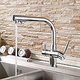 YAWEDA Doppel Fuinction Küchenarmatur 3-Wege-Filler Küchenarmatur Dreiwegehahn für Wasserfilter