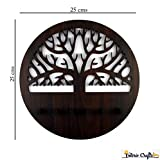 #6: Beautiful Round Wooden Tree Pattern Wall Hanging Key Chain Holder | MDF Laser Cut Key Holder For Wall Decor | Key Stands ( Size : 25 x 25 cms , Material : MDF , Color : Brown ( Wooden) ) From Interio Crafts.