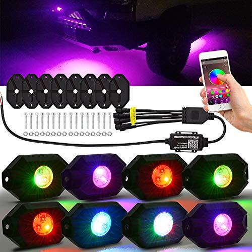 LncBoc 8 luci a LED Impermeabili a LED RGB, Kit di luci a LED al Neon a Luce Multicolore con modalità Musica per fuoristrada, camion, SUV, UTV, ATV, b