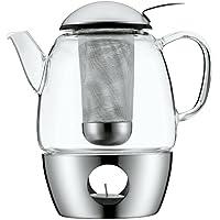 WMF SmarTea Teekanne, mit Sieb und Stövchen, Glas, Edelstahl Cromargan, spülmaschinegeeignet, V 1, 0l, H 20 cm