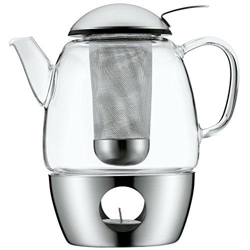 WMF SmarTea Teekanne mit Sieb und Stövchen, Glas, Edelstahl Cromargan, spülmaschinegeeignet, V 1,0l, H 20cm