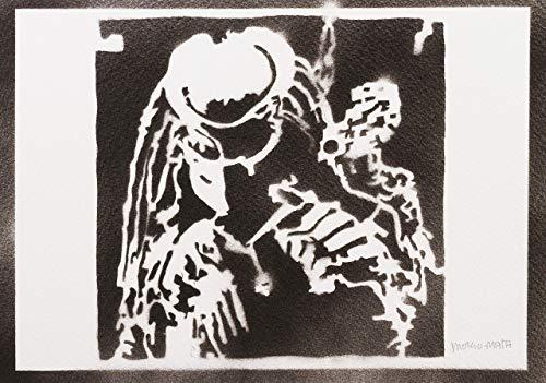 Kostüm Jubiläums - Predator Yautja Poster Plakat Handmade Graffiti Street Art - Artwork