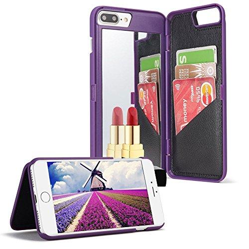 Coque pour iPhone 7, iPhone 8 Portefeuille avec Miroir pour Les Femmes,Aearl Slim Fit PC dur Couverture arrière de miroir incluse avec 3 Cartes Bancaires Slot Fonction Stand Support de Protection pour iPhone 7/8 (4.7 Pouces)-Violet