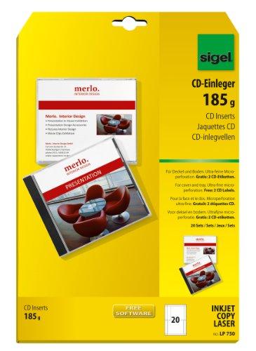 Sigel LP750 CD-Einleger für Deckel und Boden, weiß, inkl. 2 CD-Etiketten, 20 Sets