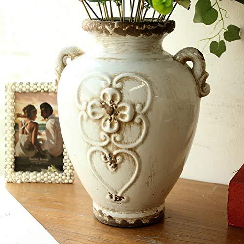 Soyizom rustikale weiße Keramikvase französische Landhausstil Vintage Vase für Blumensträuße, Keramik dekorative Krug Blumenvase