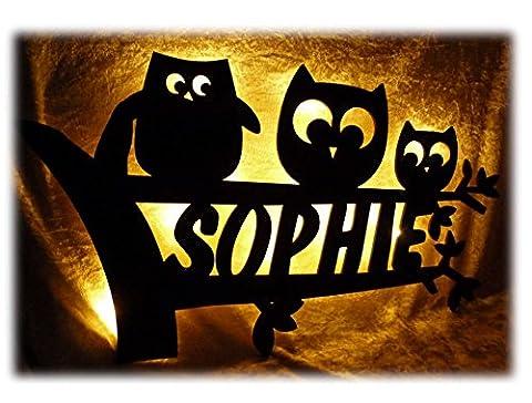 Schlummerlicht24 Led Design 3 Eule Nachtlicht Lampe Baby-Geschenke zur Geburt Taufe mit individuellem Name-n Geburts-Geschenk personalisiert-e Kommunion Taufgeschenk-e Kind-er Zimmer Beleuchtung Babys