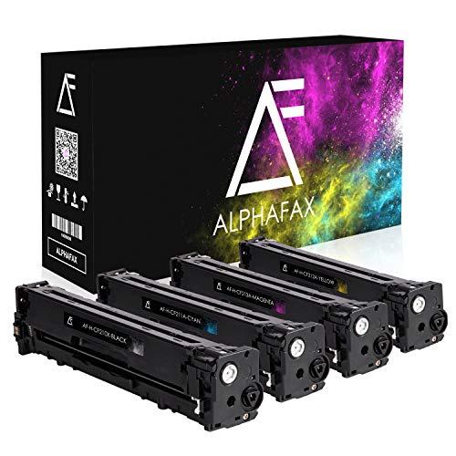 4 Alphafax Toner kompatibel zu HP CF210X CF211A CF212A CF213A für HP Laserjet Pro 200 M251n Color MFP M276nw M276n M251nw - Schwarz 2.400 Seiten, Color je 1.800 Seiten -