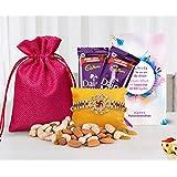 Tied Ribbons Rakhis For Brother On Rakshabandhan (Designer Rakhi,Almonds,Cashew,Rasins,2 Dairy Milk Chocolates...