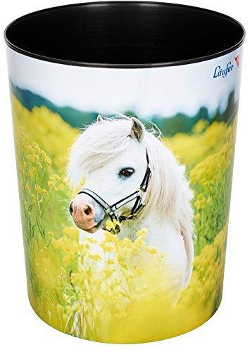 Läufer 26662 Papierkorb mit Motiv Pferd im Rapsfeld, 13 Liter Mülleimer, perfekt für das Kinderzimmer, rund, stabiler Kunststoff