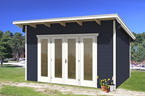 SKAN HOLZ Gartenhäuser, Blockbohlenhaus Ostende 2, schiefergrau, 300 x 400 x 264 cm, 603701-13