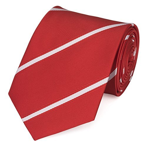 Fabio Farini klassische 8 cm Krawatte in kräftigem Rot mit weißen Streifen, Buisness, Anzug-Krawatte