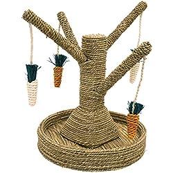 Rosewood Small - Juguete para Conejos Mascota, diseño de árbol con Zanahorias Colgantes