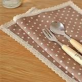 4er Lace Dot Tischset Platzset Platzmatten Platzunterlage Tischunterlage Cotton Baumwolle Linen 45 x 30 cm (Braun)