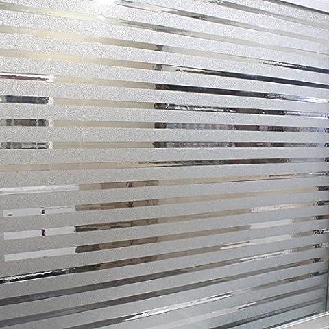 RAIN QUEEN 1 Rouleau /45cm X 200cm Film Occultant Décoratif Pour Surface Fenêtre Vitrage Vitre Autocollant Imprimé Imperméable (Mat Rayure Double Face)