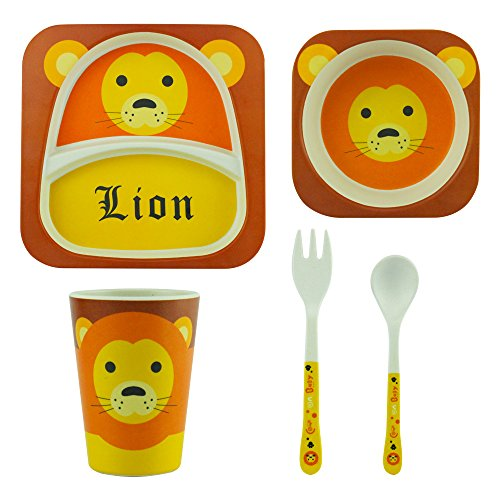 Eroilor Kinder Geschirr Set, BPA Frei, Aus Bio Bambusfaser 5tlg Geeignet für Geschirrspülmaschinen - Netter Löwe