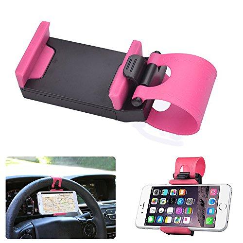 Donkeyphone Pink KFZ-Lenkrad-Adapter Universal Gummi verstellbar,-Einkaufswagen, Schirmständer... für GPS, Handy, Smartphone–iPhone,...