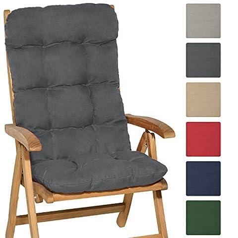 Beautissu High Back Chair Cushion Flair HL 120 x 50 x 8cm Recliner Garden Chair Pad Soft Foam Flakes Graphite Grey
