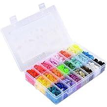 LIHAO Botones Redondos de T5 Plástico para Sujetar y DIY con Caja (360 Botones,24 Colores)
