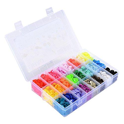 Bouton Pressions, LIHAO 360pcs 24 couleurs Pressions Plastiques T5 12mm, avec Rangement de Boîte