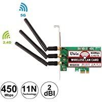 Ubit WiFi Card Dual Band 450Mbps WiFi Card Wireless PCI-E Express Card WiFi Network Adapter Card Support Dual Band(2.4GHz 450Mbps or 5GHz 450Mbps) with 3PCS Antenna for Win7/Win8/Win10(WIE4530)
