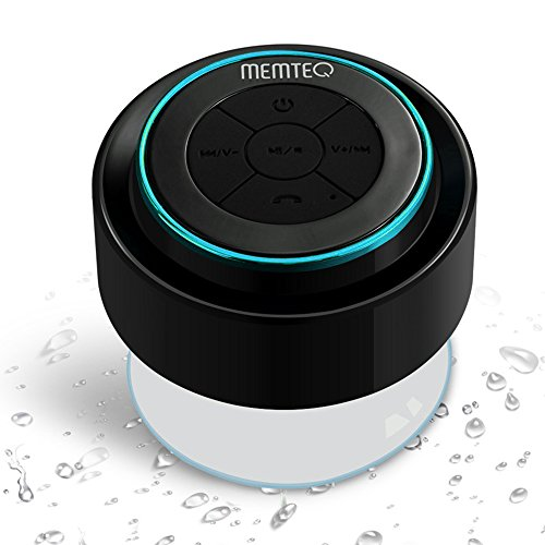 MEMTEQ Kabelloser Bluetooth-Lautsprecher mit integriertem Mikrofon, Saugnapf, geeignet für Auto, Schlafzimmer, Waschraum, Küche, Büro, Konferenz, Geschäftsreise, Urlaub etc. Urlaub Küche