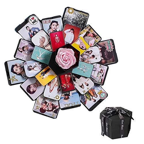 CHENYU Kreative Überraschung Box Explosions-Box DIY Geschenk Handgemachtes Scrapbook Faltendes Fotoalbum,Geschenkbox mit 6 Gesichtern,Fotobuch Groß zum Einkleben Scrapbook Schwarze Seiten Fotoalben -