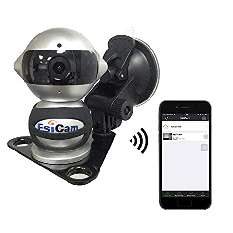 EsiCam Robot Wireless Camera for Smart Phone HD Two Way Audio Night Vision Alarm Recording with Magnetic Mount Suction Cup Used For Dash Cam Vehicle Backup RV Trailer Home Security Baby