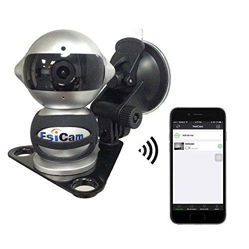 EsiCam Robot macchina fotografica senza fili per Smartphone HD audio bidirezionale Visione notturna allarme Registrazione con magnetico supporto a ventosa Utilizzato Dash Cam RV veicolo Backup-EC07