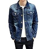 JOTHIN LeichteJeansjacke Herren Denim Mantel Freizeit Jacket Stylisch Slim OutwearJugendliche Übergangsjacke Löcher (M, Blau-1)