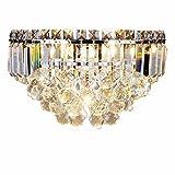 EOUBY Moderne Kristall-LED-Wandlampe, Polierte Chromkristalllampe, Halbkreisförmiger Kristalllampenschirm Einzelner Kopf Nachtleselampe, Innenbeleuchtung des Wohnzimmers Kinder