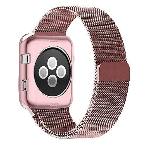 Bandas y carcasa de 42mm para Apple Watch, Brazalete de reemplazo de acero inoxidable con bucle milanés Zyra, con cubierta protectora chapada TPU resistente a rasguños para Apple Watch Serie 2, Serie 1,Nike+, Oro Rosa