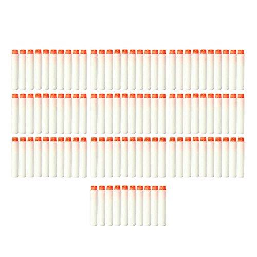 Soft Dart,Beetest 100 STÜCKE Weiß EVA Weiche Kinder Spielzeugpistole Refill Ersatzkugel Darts Glow In The Dark für Nerf N Streik Elite Series Blasters (Glow-darts)