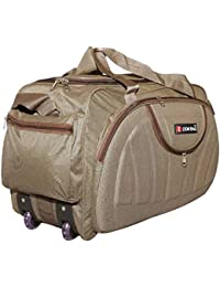 Zion bag Waterproof Polyester Lightweight 60 L Luggage Brown Travel Duffel Bag with 2 Wheels