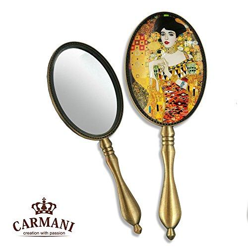 Carmani - Shabby elegante Tocador Espejo de mano con Gustav Klimt 'Adele'