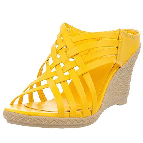 TAOFFEN Femmes Mode Creux Sandales Talons Compense Plateforme Slide Chaussures Jaune