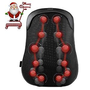 Naipo Rückenmassagegerät Shiatsu Tief Kneten Massagekissen Lordosenstütze mit Wärmetherapie für Full Back Bürostuhl Auto