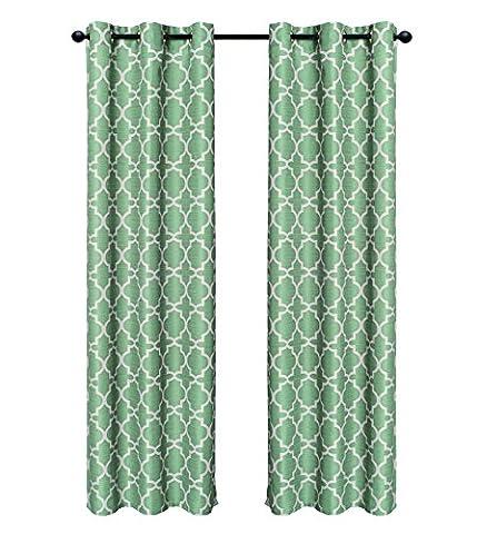 Indecor Home Design Grommet Top Faux Slub Window Panel, Lattice, Sage