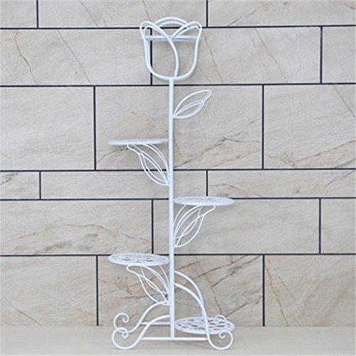 YONG SHOP Porte-fleurs Porte-fer Fer forgé Style européen Balcon Salle de séjour Pots de plancher Intérieur vert Radix Orchidée Simple (Couleur : Blanc, taille : C)
