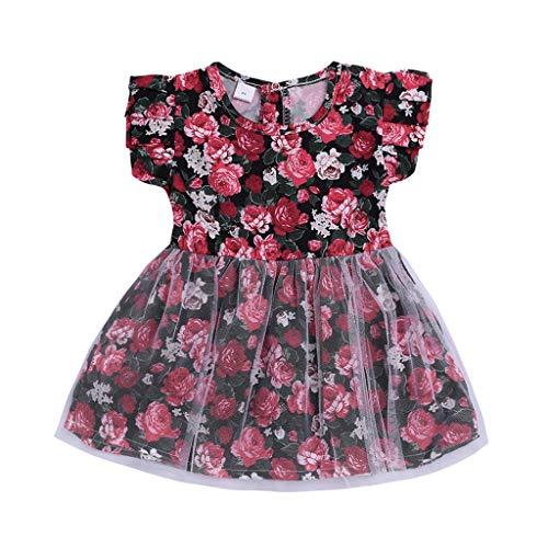 JiaMeng Kleinkind Baby Kinder Mädchen Blumendruck Tüll Patchwork Prinzessin Kleider Kleidung