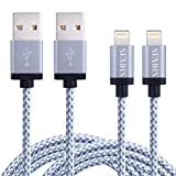 [Lot de 2] SENDIS 3M Câble Lightning vers USB Chargeur en Nylon 8 broches pour iPhone SE/6s/6s Plus/6/6 Plus/5/5 C/5S/iPad Air, Mini, iPad 4e/iPod Touch 5e/iPod Nano 7e generation
