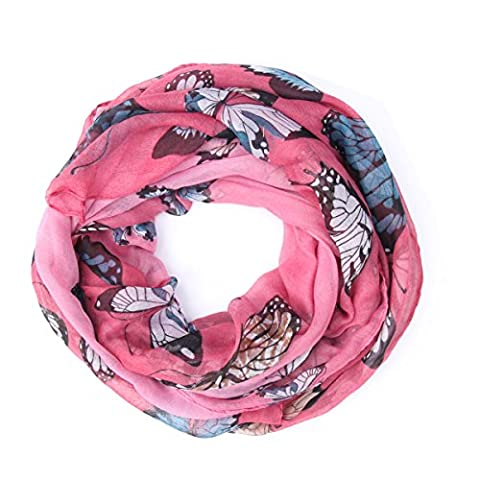 Saferin Women's Fashion Butterfly Print Loop Scarf Shawl Wrap (Rose Pink-2)