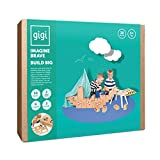 GIGI Creative gift set of 30 XL big building blocks with NEW interlocking system + 2 extra label sheets, 6 crayons, 2 stencils and 16 building variations included