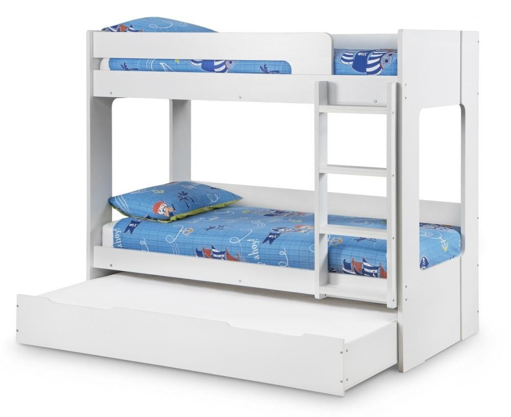 happy beds ellie white wooden bunk bed and trundle guestbed frame only 3u0027 single 90 x 190 cm amazoncouk kitchen u0026 home